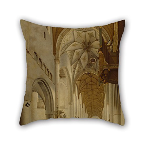 NICEPLW Oil Painting Pieter Jansz. Saenredam - The Interior Of St Bavo's Church, Haarlem (the 'Grote Kerk') Cushion Cases 20 X 20 Inches / 50 By 50 Cm Best Choice For Kids Girls,dining Room,teens B