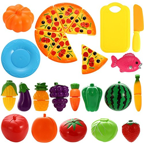HMILYDYK Kids Toy Food Fruit Vegetable Cutting Plastic Safety Kitchen Pretend Play Educational Puzzle Learning Play Set Gifts(24PCS with Pizza)