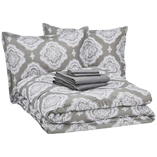 AmazonBasics 8-Piece Bed-in-a-Bag Comforter Bedding Set - Full or Queen, Grey Medallion