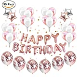 Party Ballons Dekoration Rose Gold, Set 12 Zoll Rose Gold Konfetti Geburtstag Deko Party Supplies Party Kit Banner gefüllt Klar Latex Ballons Konfetti Ballons Set Stern Mylar süß für Mädchen Pink, Baby-Dusche (mit Band)