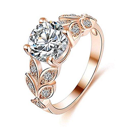 Fittingran anelli anelli pietre preziose di cristallo del fiore naturale anelli fedi nuziali di fidanzamento (7, oro rosa)