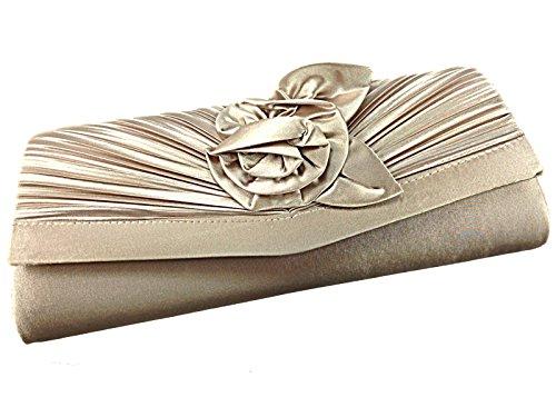Donna Occasions Enya Raso Rosetta Fiore Tacchi Stiletto Piccolo Da Sera Occasione Speciale Cerimonia Scarpa Sandalo Size 3-8 Gold Bag