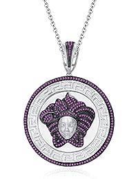 """Silvernshine 1.25 Ct Round Cut Pink Sapphire Versa Pendant 18"""" Chain In 14K White Gold Over"""