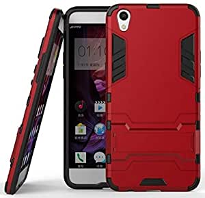 Heartly Oppo F1 Plus Back Cover Graphic Kickstand Hard Dual Rugged Armor Hybrid Bumper Case - Hot Red