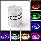RUXMY LED-Wandleuchte, Moderne LED Porous Bunte Fernbedienung rotierende Aluminium-Nachtlicht für Bar-Café-Korridor Gangdekoration