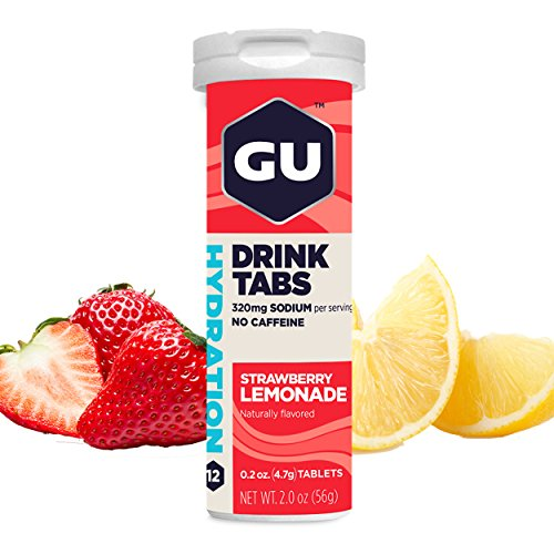 GU Brew Hydration Drink Tabs (Elektrolyt-Brausetabletten), Strawberry Lemonade(Erdbeer-Limonade), 12 Stück