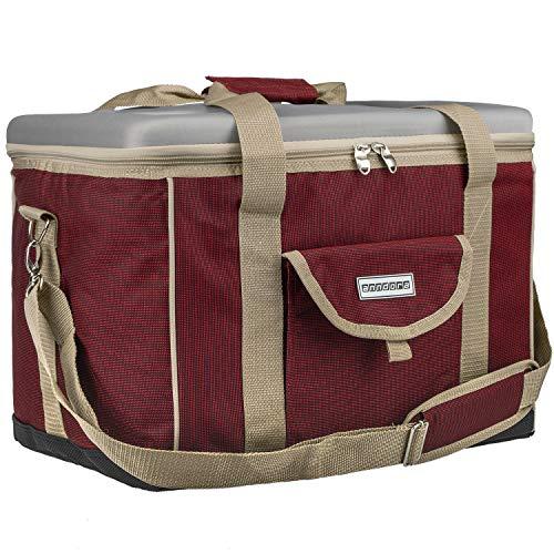 anndora Kühltasche XL rot beige 40 Liter - Kühlbox Isoliertasche Picknicktasche