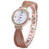 Armband Design Quarz Uhr mit Strass Dial-Edelstahl-Band für Frauen Tiefblau (Rose Gold)