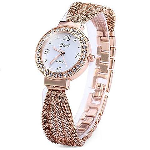 Montre à quartz design avec cadran avec bracelet en acier inoxydable orné de strass pour femme , Rose Gold