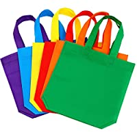 Aneco 24 Pack 10 by 10 Inches Non-woven Tote Bags Party Goodie Treat Bag Bottom Gift Bag with Handles for Kids Birthday Party Favor, 6 Colors