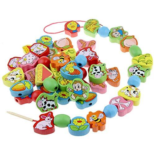 Gobus 63 Stück Holz Bunte Tier Perlen Linie Verbindung Schnürung Perlen Threading Perlen Aktivität Spielzeug Frühen Lernspielzeug