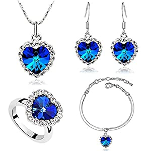 AILUOR Titanic Heart of The Ocean Necklace Earrings Bracelet and Rings Jewelry Set, Sterling Silver Blue Sapphire Crystal Necklace Pendants Wedding Prom Jewelry (Blue)
