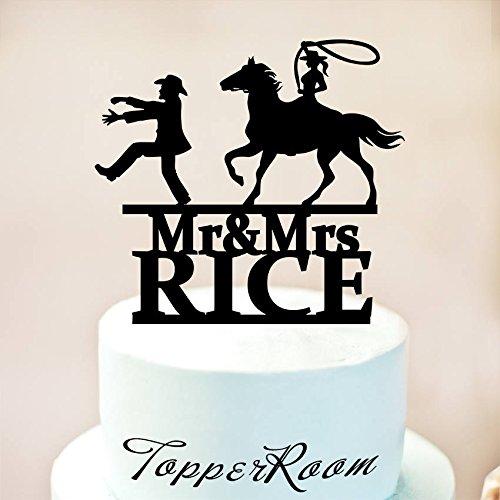 Country Hochzeit Tortenaufsatz, Cowboy mit Pferd Kuchendekoration, Cowboy mit Lasso, Western, Tortendekoration, fangen seine Ride Tortenaufsatz (Tree Western Topper)
