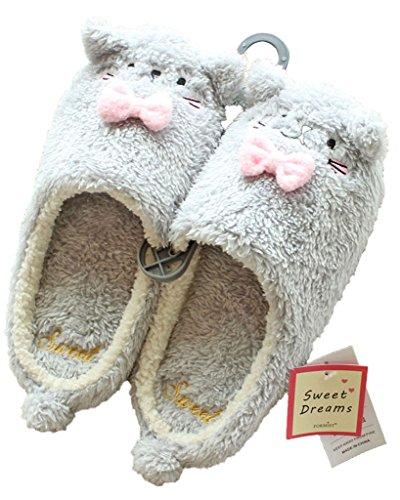 Minetom Donne Pantofole Calde Autunno Inverno Morbido Scarpe Antiscivolo Casa Bowknot Cartone Animato Slippers Grigio