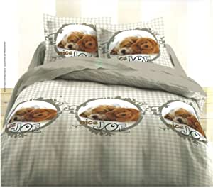 Parure de lit Housse de couette Animal Chien Chiot - NICE JOE - 140 x 200 cm + Taie d'oreiller - Animaux Dogs Duvet Cover