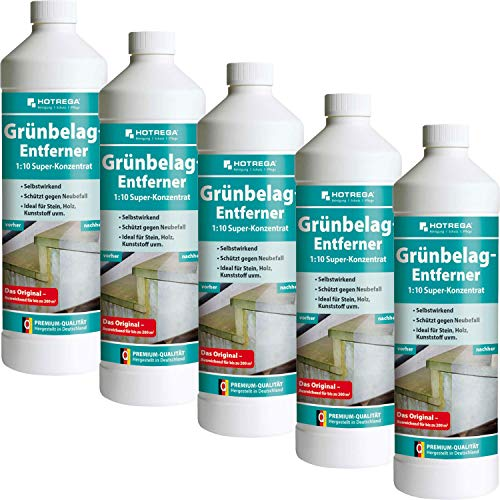 5 x HOTREGA Grünbelag-Entferner 1000ml Flasche