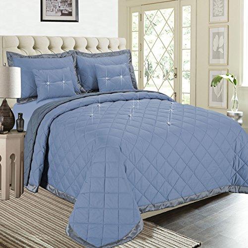 Fertige gesteppte Bettdecke, Imperial Zimmer bieten überlegene Qualität Reversible 5 piece Diamond Tröster-Set (Silber | King Size) Bettwäsche-Sets, elegante moderne Kollektion für Schlafzimmer: 1 Tagesdecken, 2 Kissen und 2 Dekorative Kissen