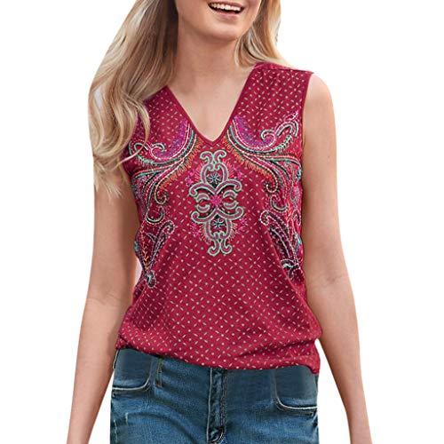 kolila Sommer Damen Weste Vintage Ethnischen Stil drucken Polka Dot V-Ausschnitt Beiläufige ärmellose Shirt Blusen Tops - Mäntel Wolle-liner Mit
