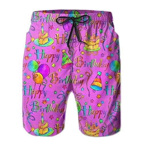 Birthday Herren Badehose Schnell trocknend Strand Shorts Strand Surfen Laufen Schwimmen Badeshorts L ()