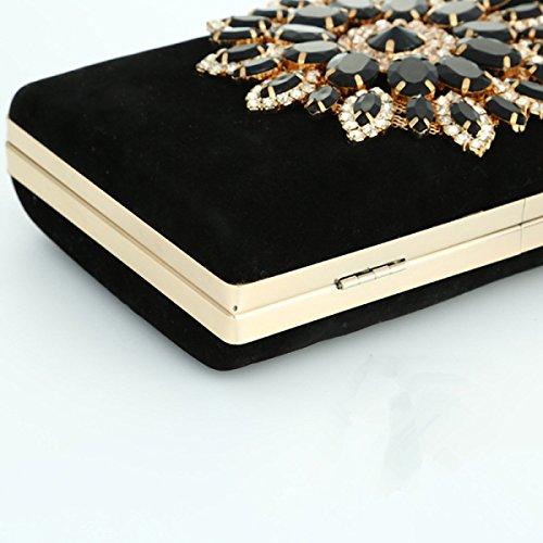 FZHLY Damen-Schulter-Handtaschen-Diamant-Abendessen-Partei-Kupplung Für Weihnachten Black