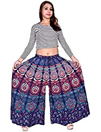 Outer Wear Skirt Women's Regular Fit New Fashionable Cotton Straight Divider Printed Palazzo Pant (JBPZ00295-...