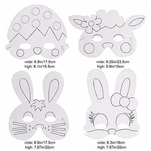 LEEQ Oster-Maske zum Basteln mit Kaninchenform, für Kinder, Kostüm, für Ostern, Partys, Geschenke, 6 Stück