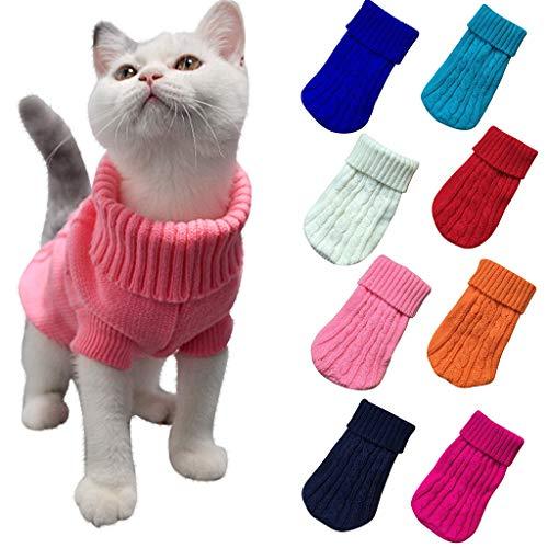 Frashing Warme Hundepullover Sweater Gestrickter Pullover für Kleine Hunde Katze Pullover Katzenpullover für Herbst Winter welpen Strickpullover Gestricktes Sweatshirt