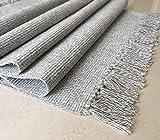 multi-usage rutschfeste Fläche, flach gewoben, Teppich mit 100% Baumwolle, Küche, Schlafzimmer mit Bereich Teppich mit Anti-Slip Underlay, baumwolle, grau, 90*160cm