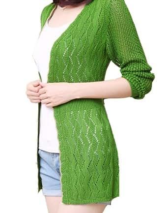 Dayiss®Bequem Lang Tops Damen Strickjacke Offenes Cardigan mit Ajour Frühjahr Feinstrickpullover Pulli Strickerei Knit Coat (Grün)