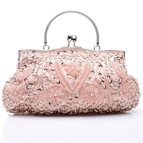 Sallyshiny Paillette da donna con perline, per sera, con scritta: Evening Clutch-Borsa Tote Bags (rosa)