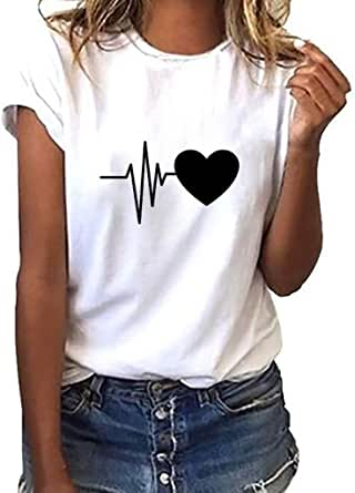 Donna Maniche Corte,Maglietta Manica Corta Donna T-Shirt Estivi 2021 Economia Casual Stampa ECG- Camicia T-Shirt Divertenti Sportivi Vintage Cotone Stretch Tumblr Elegante Estiva Moda Top