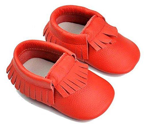 SMITHROAD Baby Mädchen Baby Jungen Unisex Lauflernschuhe Moccasin Krabbelschuhe Hausschuhe mit Troddel Echtes Leder 0-24 Monate Rot