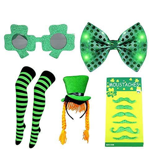 ARTSTORE Zu den Dekorationen des St. Patrick's Day zählen die St. Patrick's Day-Socken + Green Hat + Funny Glasses + 6 Green Beard + St. Patrick's Day Bow - Day Hat Green