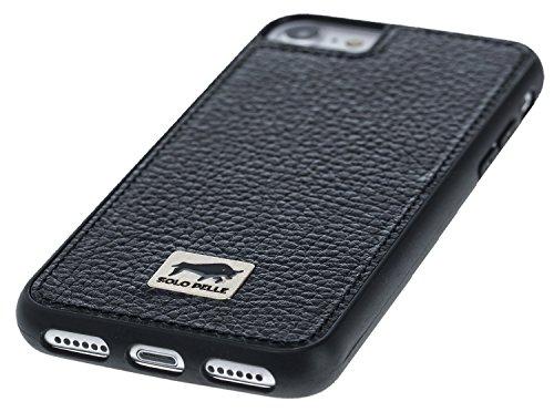 "Solo Pelle iPhone 7 / 8 Case Lederhülle Ledertasche Backcover "" Flex "" aus echtem Leder mit Kroko-Prägung in Schwarz inkl. edler Geschenkverpackung Floater Schwarz"