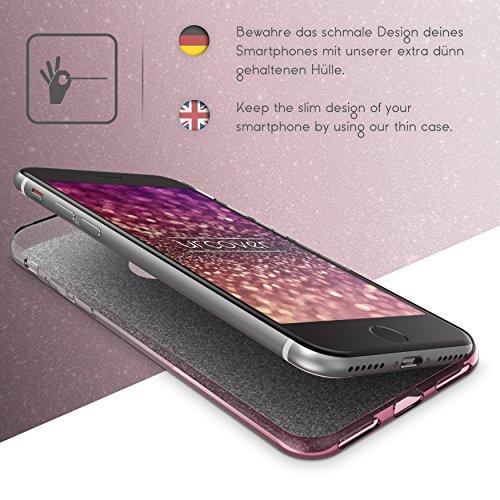 Urcover® Apple iPhone 7 / 8 Schutz-Hülle | TPU / Silikonhülle in Lila | Rainbow Handy Back-Case | Glitzer Cover Crystal Case robuste Schale | Handyhülle Smartphone Zubehör Tasche Pink