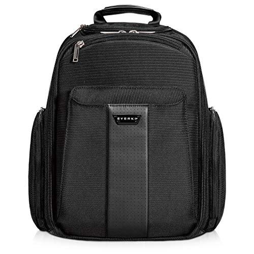 Everki Versa - Premium Laptop Rucksack für Notebooks bis 14,1 Zoll (35,8 cm) / MacBook Pro 15 Zoll mit patentiertem Ecken-Schutz-System, Brillen-Hartschalenfach und weiteren hochwertigen Funktionen, Schwarz
