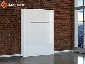 SMARTBett lit pliant schrankbett 140 cm, verticales blanc/hochglanzfront avec matelas
