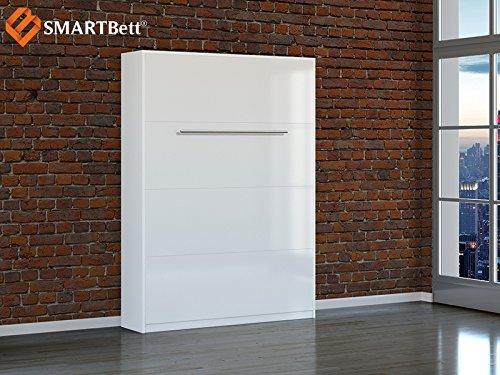 Schrankbett SMARTBett Klappbett Gästebett 140cm, vertikal Weiss/Hochglanzfront mit Matratze