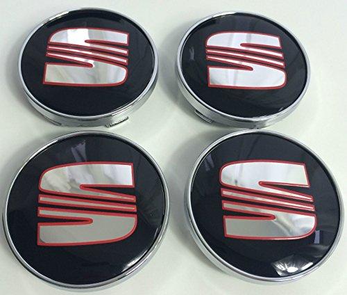 Preisvergleich Produktbild Radkappen-Emblem Seat,  Set mit 4 Emblemen in schwarz,  chrom und rot,  60 mm,  für Alufelgen