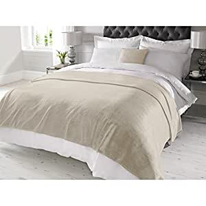 Just Contempo Bed Throw 150 cm x 200 cm Polyester LUXURY FAUX CASHMERE THROW - Cream Super Soft Sofa Bed Blanket Fleece Throw Over, Beige