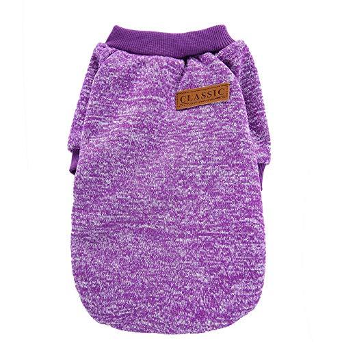 probeninmappx Weiche warme Haustierjacken-Hundepullover-Mantel-Kleidungs-Welpen-klassisches Sweatshirt, Purpurrot, S-Größe