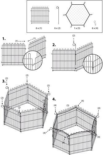 Kaninchengehege, Dobar, einstöckig, 6-eckiges Freilaufgehege - 6