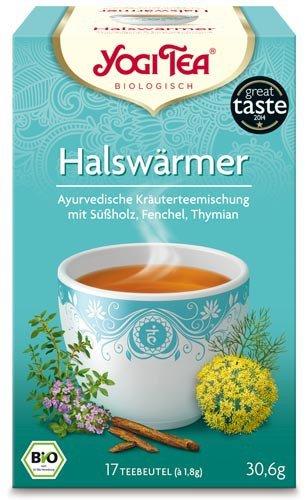 Yogi Tee, Halswärmer Tee, 4er SPARPACK , Biotee, liebliche süße Mischung, 17 Teebeutel, 30.6g