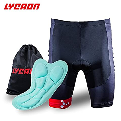 LYCAON Bike Bicycle Cycling Shorts Gel Padded Shorts 3D Antibacterial Coolmax Silica Gel Padding Biker Shorts Half Pants for Road Bike Mountain Bike MTB Shorts Cycling Clothing Men Women (Red, L)