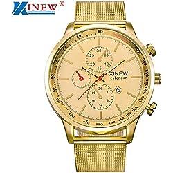 Reloj para hombre, KanLin1986 Reloj de cuarzo Reloj de pulsera de acero inoxidable para hombre con pantalla de fecha (Dorado)