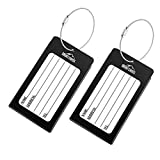 Luggage Tags 2 Pcs Set Business Card Holder Mont Swiss Travel ID Tag (Black)