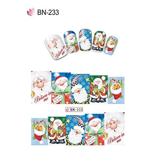 Multi Farbe Tröster (sunnymi Weihnachten Nail Wraps Aufkleber, Schnee Santa Claus Pattern, Spaß Für Kind Schönheit Mädchen,Kunst Watermark Tattoos Nail Art Tipps Decals Dekor (B))