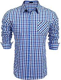 Burlady Karohemd Herren Langarm Hemd Kariert Regular Fit Trachtenhemd Cargo Bügelleicht Doppelfarbig Freizeithemd Männer Für Oktoberfest