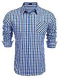 Burlady Herren Hemd Kariert Regular Fit Trachtenhemd Bügelleicht Freizeithemd Hemd Männer (XXL, Saphir)