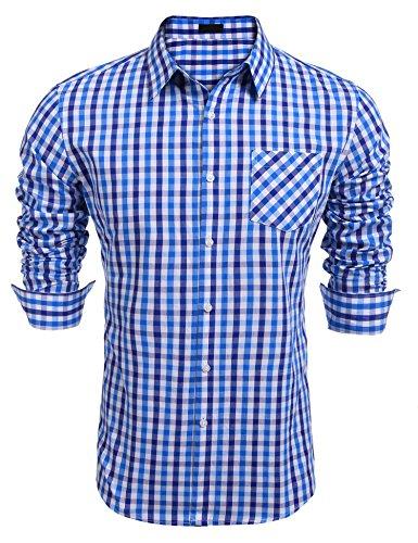 Burlady Herren Hemd Kariert Regular Fit Trachtenhemd Bügelleicht Freizeithemd Hemd Männer (M, Saphir)